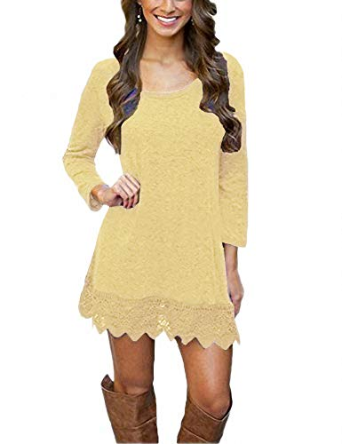 Afibi Women's Long Sleeve A-Line Lace Stitching Trim Casual Dress (X-Small, Light Yellow)