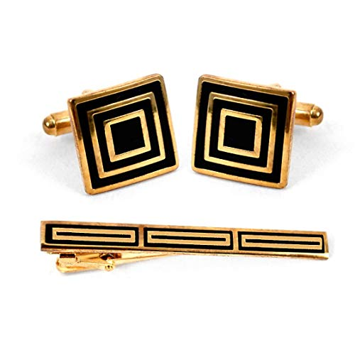Gold Tone Square Black and Gold Striped Cufflinks with Matching Tie Bar Clip ()