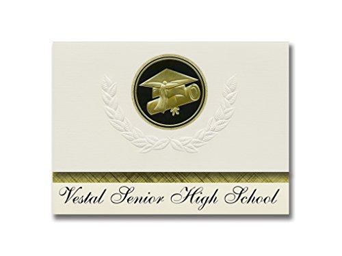 Signature Announcements Vestal Senior High School (Vestal, NY) Graduation Announcements, Presidential style, Elite package of 25 Cap & Diploma Seal Black & Gold
