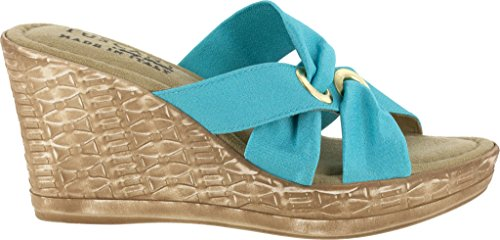 Easy Street Solaro Donna Open Toe In Canvas Blu Zeppa Con Tacco Turchese