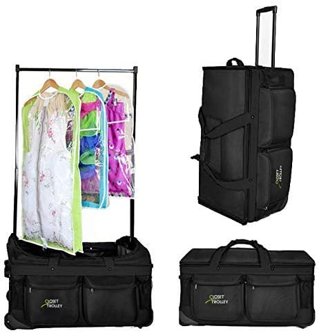 Closet Trolley Dance Bag with Garment Rack - BLACK DANCE DUFFEL
