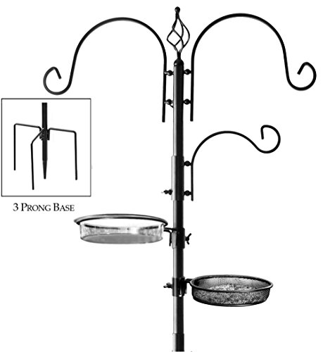 Deluxe Bird Feeding Station for Outdoors: Bird Feeders for Outside - Multi Feeder Pole Stand Kit with 4 Hangers, Bird Bath and 3 Prong Base for Attracting Wild Birds - (Multi Position Hook)