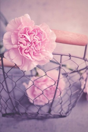 Pink Carnations in a Rustic Wire Basket Flower Journal: 150 Page Lined Notebook/Diary