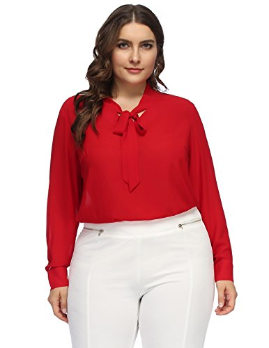 Women's Casual Chiffon Long Sleeve Bow Tie Plus Size Shirt Tops 24W Red