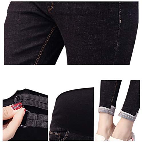 Deylaying In Jeans Elastico Pantaloni 9 Con Nero Incinta Vita Donna Maternity Stile UU0wrqx4n