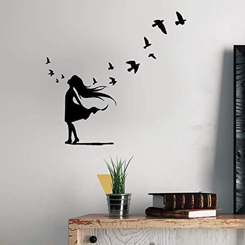 Wall Stickers Art Decor Decals French Jolie Petite Fille Et Petits Oiseaux Pretty Little Girl and Little Birds