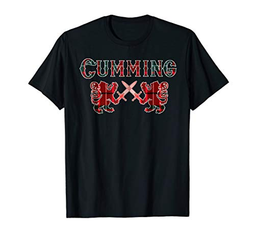 Clan Cumming Scottish T-Shirt Family Kilt Tartan Lion Gift