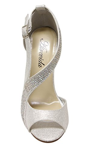 Atrevida Kalila-04 Femmes Peep Toe Perles Obliques Dorsay Sangle Boucle Talon Haut Paillettes Pompes Argent
