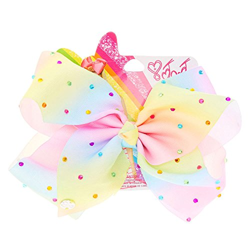 [JoJo Siwa Rhinestone Pastel Rainbow Large Signature Hair Bow Dance Cheerleader] (Simple Cheer Dance Costumes)