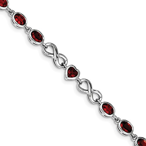 ICE CARATS 925 Sterling Silver Oval Heart Red Garnet Bracelet 7.75 Inch /love Infinity Gemstone Fine Jewelry Gift Set For Women Heart by ICE CARATS
