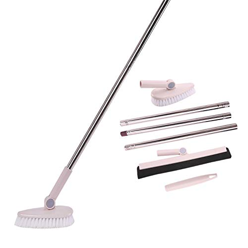 Floor Brush Scrubber Removable Adjustable Long Handle Stiff Bristle Recesses and Grout Brush with Squeegee Broom for Tile Tub Bathroom wall Kitchen (Brush Floor Squeegee)