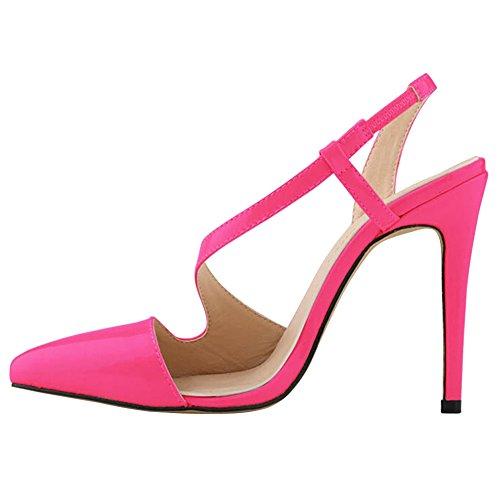 Fereshte Femmes Chaussures À Talons Hauts Serpent Peau Robe Pompe Sandales Bonbons Couleur Rose Rouge