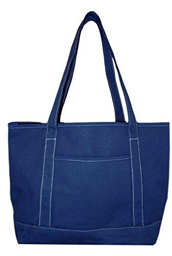 Premium Large 24 oz Cotton Canvas Open Top Shopper Tote Bag (Navy) 24 Oz Cotton Canvas Boat