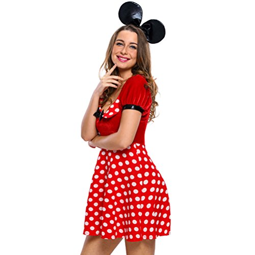 YeeATZ Women's Polka Dot Mouse Costume(Size,M) (Homemade Bumble Bee Costume For Adults)