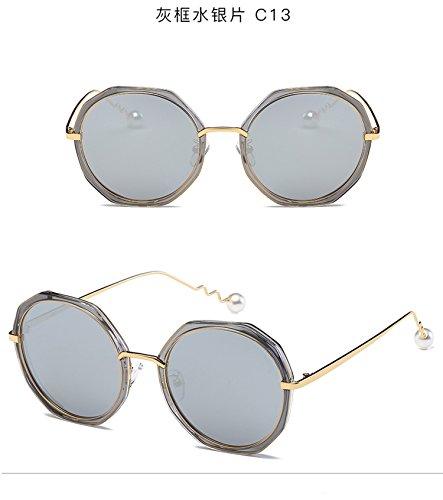 pearl spiral personality mirror trend polarized sunglasses irregular circular sunglasses for men and women,C13 gray box mercury film
