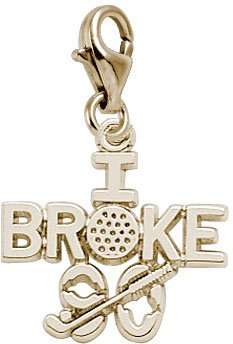 Rembrandt Charms I Broke 90 Golf Charm with Lobster Clasp, 14k Yellow Gold 14k Yellow Golf