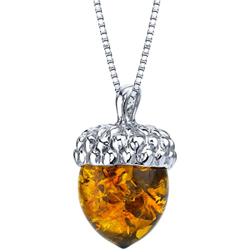 Baltic Amber Sterling Silver Acorn Pendant Necklace