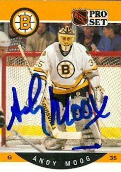 Andy Moog autographed Hockey Card (Boston Bruins) 1990 Pr...