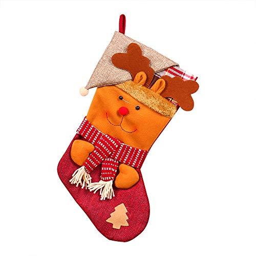 Christmas Tree Decorations, Jchen(TM) Christmas Stockings Gift Bags, Santa Claus Snowman Pattern Decoration Christmas Tree Candy Gift Christmas Decor (Brown) by Jchen Christmas Tree Decor (Image #2)