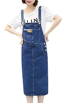 Plaid&Plain Women's Casual Slim A Line Short Suspender Denim Midi Skirt Bib Overall Dress
