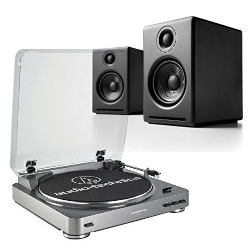 AudioTechnica AT-LP60 Fully Automatic Stereo 2-Speed Turntable System (Silver) with Audioengine A2+ Premium Powered Desktop Speakers (Black)