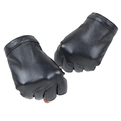 KWLET Women's Fingerless PU Leather Gloves Cycling Driving Motorcycle Performance Gloves ()