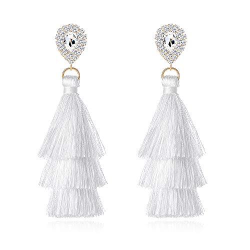 Long Tassel Earrings For Women Bohemian Drop Earrins Rhinestone Teardrop Dangle Earrings 3 Layered Multi Color Fringe Earrings Girls