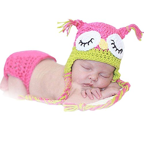 NEEVAS Pink Owl Baby Girl Infant Knit Crochet Clothes Costume Photo Prop Outfit]()