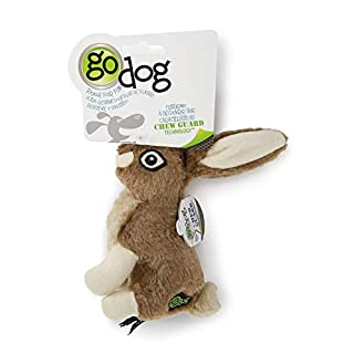 goDog Wildlife Rabbit with Chew Guard Tough Plush Dog Toy, Small