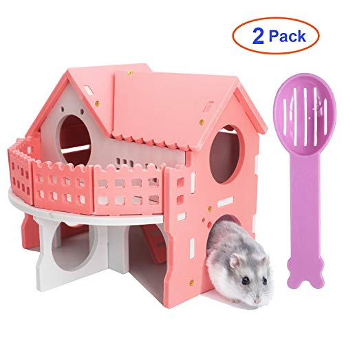 - EIGNO Hamster House Hamster Toy Villa Toys for Gerbils, Hamster, Mouse, Chinchilla and Other Small Pet. 1 Toy +1 Spoon Pink Double-Deck Villa Wooden Hut
