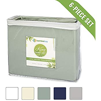 Bamboo Bed Sheets - 100% Viscose from Bamboo Bed Sheets - Hypoallergenic 6-Piece Bamboo Bed Sheets Set - Extra Deep Pocket, No-Slip Fitted Sheet - Soft, Cool, Durable (King, Sage)