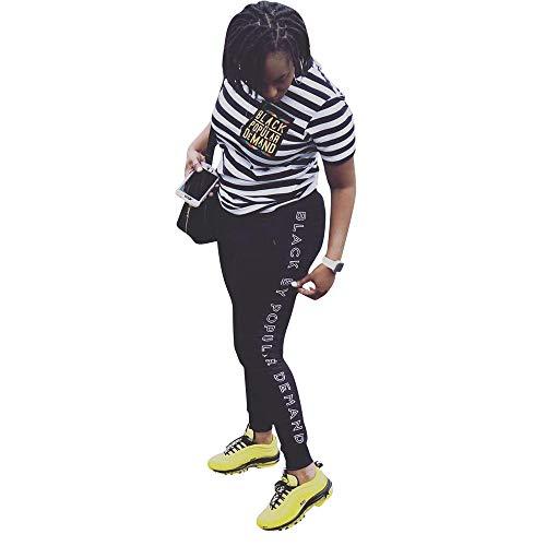 Women Plus Size Striped 2 Piece Outfits Letter Print Tshirt Top Jogger Tracksuit
