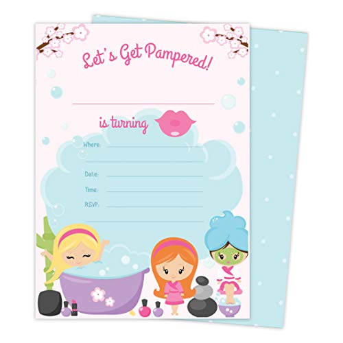 Spa Day 1 Happy Birthday Invitations Invite Cards (25 Count) With Envelopes and Seal Stickers Vinyl Girls Kids Party (25ct) - Girl Envelope Seals