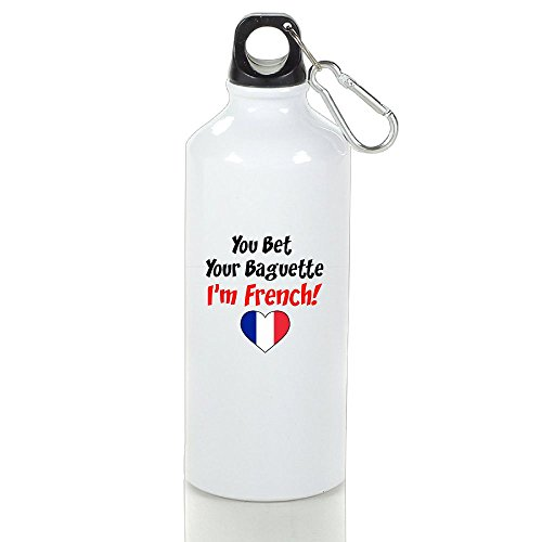 Zhiqiandf Bet Your Baguette French Funny Golf White Sports Water Bottle Aluminum With Carabiner