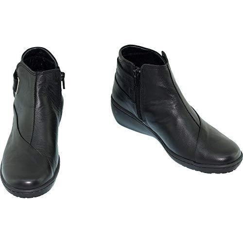Femme Olinda Grande Bottines Noir Confortable En Plus Largeur Sensibles Chaussures Pieds Cuir Aerobics Compensé Souple Confort gaqAvqxw