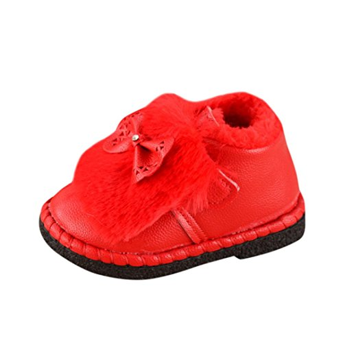Price comparison product image Oksale Newborn Baby Girls Winter Bowknot Soft Martin Sneaker Warm Boots Casual Shoes (1-1.5T,  Red)