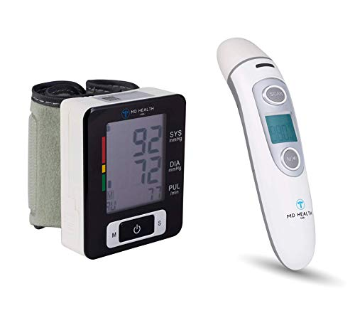 MD Health U60CH Wrist Blood Pressure Monitor & IR100 Automatic Thermometer Care Kit with Clinical Accuracy - Optional USB Charger Included - FDA Approved - Lifetime Warranty ()