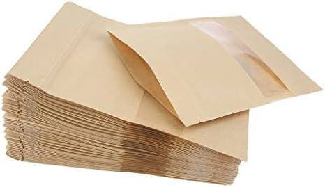 Tachiuwa クラフト紙 スタンドアップ 自立袋 茶色 ジップロック 保存用バッグ 窓付き 防湿 防水 約100個