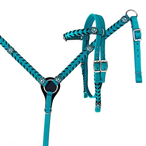 Showman Horse Size TEAL Nylon Black Buck Stitch Headstall Breast Collar Reins ()