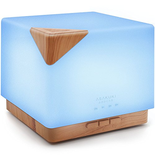 ASAKUKI 700ml Premium, Essential Oil Diffuser, 5 In 1 Ultrasonic Aromatherapy Fragrant Oil Vaporizer Humidifier, Timer and Auto-Off Safety Switch, 7 LED Light Colors - 5 Different Fragrance