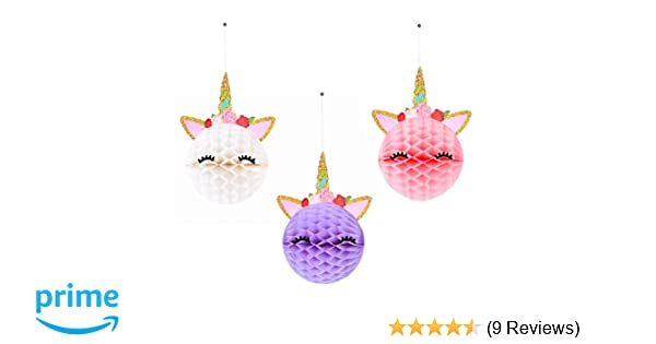 6pcs Unicorn Honeycomb Balls Decorations Party Supplies – Unicorn Party  Decor For Birthday Party,Wedding,Baby Shower– 3 Color Unicorn Party