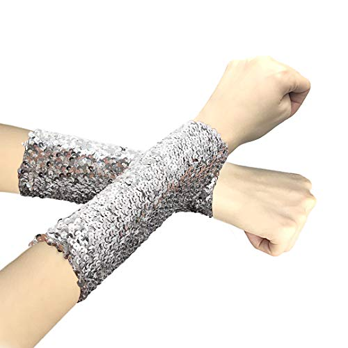 Ladies Sparkle Cuff Glove - Orita Women Shiny Oversleeves Sequins Costume Cuffs Sparkle Stretchy Long Arm Sleeve Performance Cosplay