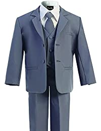 Boy's Black Classic 2 Button Suit with Cloth Cover Buttons
