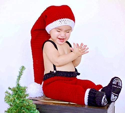 b18eb30cdfba Image Unavailable. Image not available for. Color: Baby Christmas Outfit,  Boy Or Girl, Santa Hat, Pants Suspenders ...
