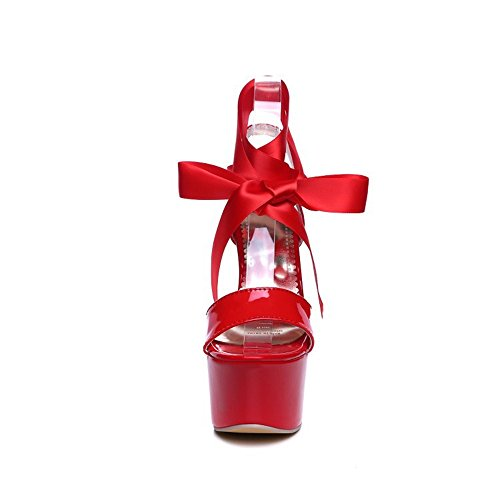 de de de Cabeza Inferior Mujer QXH Superficial Tacón Alto Boca Grueso Redonda Sandalias Red Rqw50