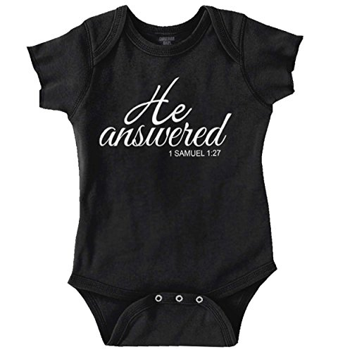 Brisco Brands He Answered Christian Shirt | Cute Baby Religious Gift Cool Romper Bodysuit