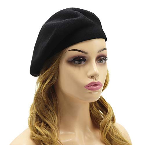 (French Beret Hat,Reversible Solid Color Cashmere Beret Cap for Womens Girls Lady Adults (Black))