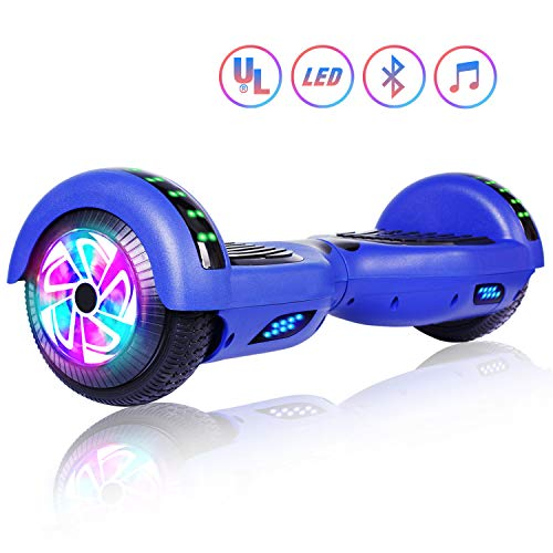 Felimoda 6.5' inch Two Wheels Electric Smart Self Balancing Scooter Hoverboard with Wireless Speaker LED Light-UL 2272 Certified for Kids Gift and Adult,Blue