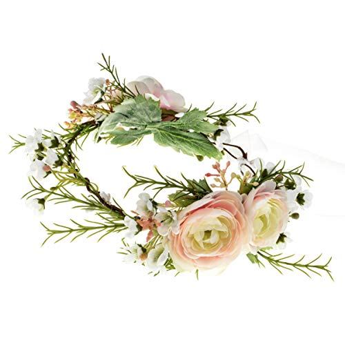 Vividsun Bridal Green Leaf Crown Bohemian Headpiece Floral Headband Photo Prop (rose baby pink)