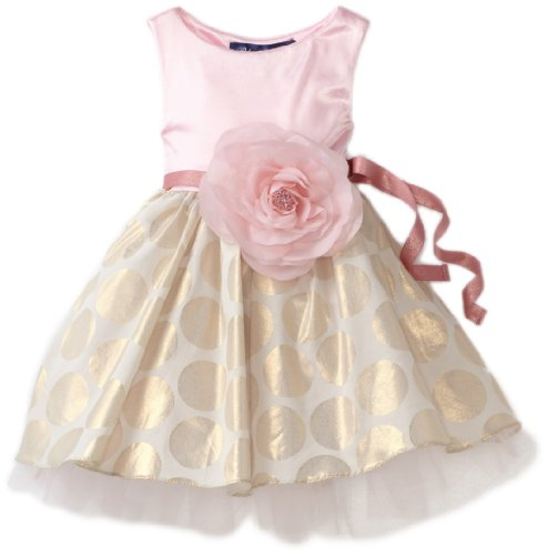 Blue Pearl Baby Girls' Shimmer Knit Top with Skirt Lined Jackie Dress with Belt and Rose, Pink, 12 Months
